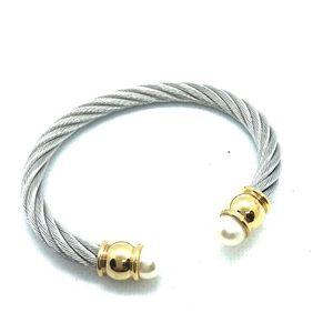 Classic Bracelet, silver tone w/faux pearl in gold